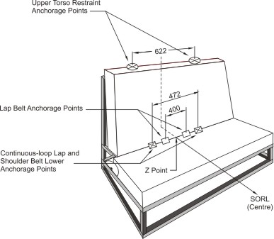 Diagram of Three-dimensional Schematic View of Standard Seat Assembly Indicating Location of Seat Belt Anchorage Points with measurements and specifications.