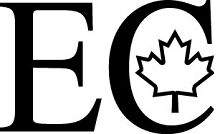 The letters EC in large font with a maple leaf pictured inside the letter C.