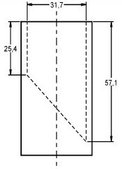 Illustration of measurements for a small parts cylinder. The small parts cylinder is a hollow cylinder with an inner diameter of 31.7 mm. A plate (or similar device) is placed inside the cylinder at a 45 degree angle such that the minimum depth of the cylinder is 25.4 mm and the maximum depth of the cylinder is 57.1 mm. No specifications are provided for the wall or floor thickness of the cylinder.