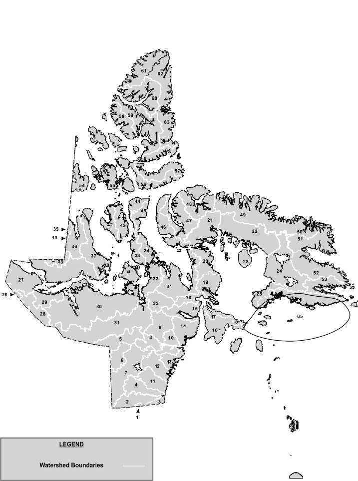 Map displaying watershed boundaries