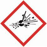 A red square, set on one of its points, outlined on a white background, symbolizing danger. It contains, inside its perimeter, the image of a fragmenting solid black circle projecting debris in all directions. This pictogram is used to warn about the presence of an explosion hazard.