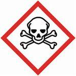 A red square, set on one of its points, outlined on a white background, symbolizing danger. It contains, inside its perimeter, the black outline of a skull with a white background and black eyes and nose, over two crossed bones depicted by black outlines on white backgrounds. This pictogram is used to warn about the presence of an acute toxicity hazard.