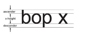 "The height of the lower case letter ""x"" is the ""x-height"". The part of the lower case letter ""b"" that is above the x-height is called an ""ascender"". The part of the lower case letter ""p"" that is below the x-height is called a ""descender""."