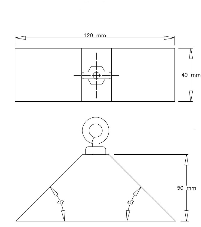 The loading wedge is in the shape of a trapezoidal prism. The trapezoidal face has the following measurements: a base of 120 mm and a height of 50 mm and both of the base angles are 45 degrees. The depth of the prism is 40 mm. A closed eyebolt rises from the top of the prism.