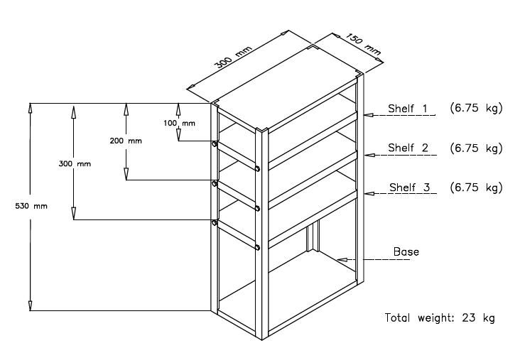 The device is shaped like a bookshelf with a base, three shelves and a top. It is 530 mm tall, 300 mm long and 150 mm deep. The top of the first shelf is 100 mm from the top of the device. The top of the second shelf is 200 mm from the top of the device. The top of the third shelf is 300 mm from the top of the device. Each of the three shelves weighs 6.75 kg, with the total device weighing 23 kg.