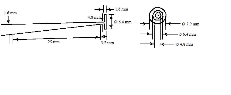 The probe is a cylindrical rod with a disc at one end that is 1.6 mm thick and has a diameter of 6.4 mm.