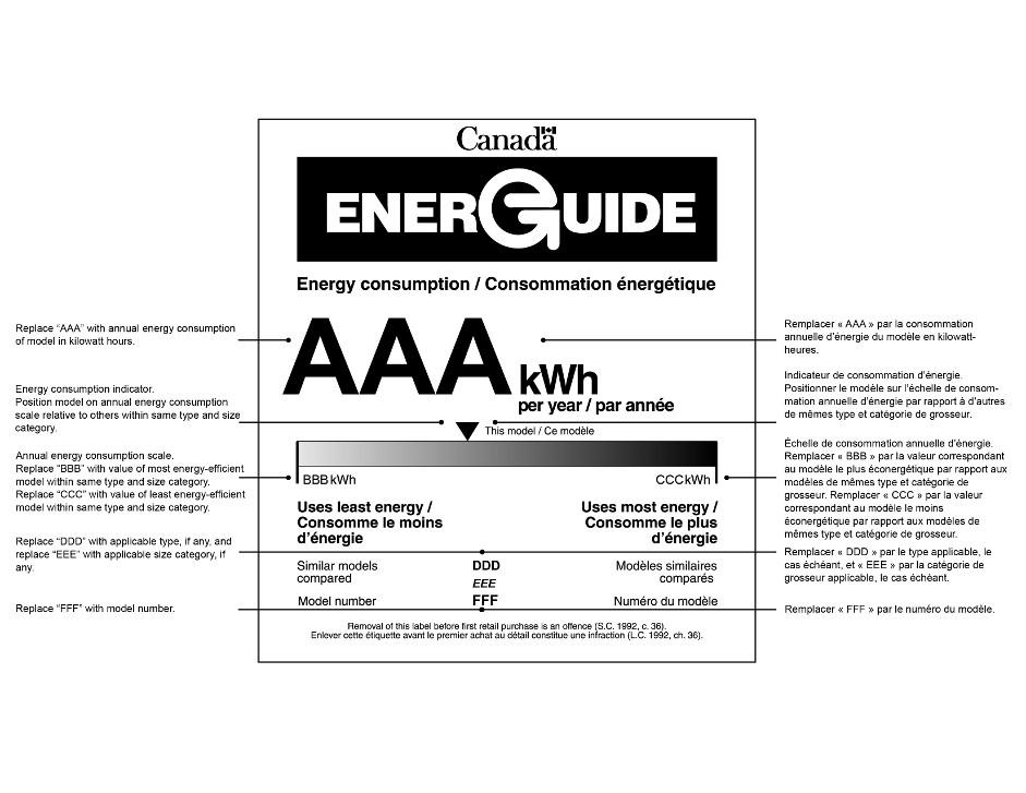 "The graphic depicts the form for the bilingual EnerGuide label for a household appliance and provides instructions for the information that must be on the label. Except for the EnerGuide logo, which has white text on a black background, all text on the label is black on a white background. The label displays the following information about the appliance: its annual energy consumption, its type and size category and its model number. The label also displays a horizontal scale that shows the annual energy consumption of the product, expressed in kilowatts, relative to similar models in the same size and type category. From top to bottom, the elements of the label and their associated instructions are the following: The Canada word-mark is at the top of the graphic. The EnerGuide logo is prominently displayed underneath the Canada word-mark. Below, under the heading ""Energy consumption"", the value ""AAA kWh per year"" is prominently displayed. The instruction for this value states ""Replace ""AAA"" with annual energy consumption of model in kilowatt hours"". Next, the label depicts a gradient scale that gradually changes from white on the left to black on the right. The value ""BBB kWh"" is displayed at the left endpoint of the scale, immediately above a bolded heading that states ""Uses least energy"". The instruction for this value states ""Replace ""BBB"" with value of most energy-efficient model within same type and size category."" The value ""CCC kWh"" is displayed at the right endpoint of the scale, immediately above a bolded heading that states ""Uses most energy"". The instruction for this value states ""Replace ""CCC"" with value of least energy-efficient model within same type and size category."" Immediately above the scale and depicted as an inverted black triangle is the energy consumption indicator which is used to mark the relative energy performance of the product at issue. The instruction for this indicator states ""Position model on annual energy consumption scale relative to others within same type and size category."" Next below, at the left margin, is the heading ""Similar models compared"". The values ""DDD"" and ""EEE"", which are related to this heading, are centered on the graphic. The instruction for those values states ""Replace ""DDD"" with applicable type, if any, and replace ""EEE"" with applicable size category, if any."" Next below, at the left margin, is the heading ""Model number"". The value ""FFF"", which is related to this heading, is centered on the graphic. The instruction for this value states ""Replace ""FFF"" with model number."" Lastly, the graphic provides a reminder that ""Removal of this label before first retail purchase is an offence (S.C. 1992, c. 36)""."