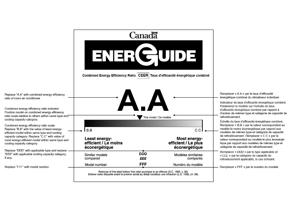 "The graphic depicts the form of the bilingual EnerGuide label for a room air conditioner manufactured on or after June 1, 2014 and provides instructions for the information that must be on the label. Except for the EnerGuide logo, which has white text on a black background, all text on the label is black on a white background. The label displays the following information about the room air conditioner: its combined energy efficiency ratio, its type and cooling capacity category and its model number. The label also displays a horizontal scale that shows the combined energy efficiency ratio of the product relative to other products of the same type and in the same cooling capacity category. From top to bottom, the elements of the label and their associated instructions are the following: The Canada word-mark is at the top of the graphic. The EnerGuide logo is prominently displayed underneath the Canada word-mark. Below, under the heading ""Combined Energy Efficiency Ratio"", the value ""A.A"" is prominently displayed. The instruction for this value states ""Replace ""A.A"" with combined energy efficiency ratio of room air conditioner."" Next, the label depicts a gradient scale that gradually changes from black on the left to white on the right. The value ""B.B"" is displayed at the left endpoint of the scale, immediately above a bolded heading that states ""Least energy efficient"". The instruction for this value states ""Replace ""B.B"" with the value of least energy-efficient model within same type and cooling capacity category."" The value ""C.C"" is displayed at the right endpoint of the scale, immediately above a bolded heading that states ""Most energy efficient"". The instruction for this value states ""Replace ""C.C"" with value of most energy-efficient model within same type and cooling capacity category."" Immediately above the scale and depicted as an inverted black triangle is the combined energy efficiency ratio indicator that is used to mark the relative energy efficiency of the product at issue. The instruction for this indicator states ""Position model on combined energy efficiency ratio scale relative to others within same type and cooling capacity category."" Next below, at the left margin, is the heading ""Similar models compared"". The values ""DDD"" and ""EEE"", which related to this heading, are centered on the graphic. The instruction for those values states ""Replace ""DDD"" with applicable type and replace ""EEE"" with applicable cooling capacity category, if any."" Next below, at the left margin, is the heading ""Model number"". The value ""FFF"", which is related to this heading, is centered on the graphic. The instruction for this value states ""Replace ""FFF"" with model number."" Lastly, the graphic provides a reminder that ""Removal of this label before first retail purchase is an offence (S.C. 1992, c. 36)""."