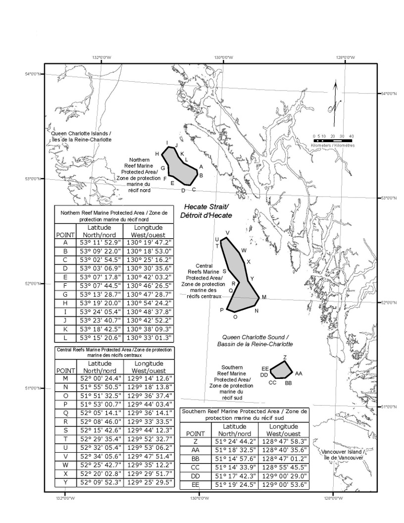 Schedule 1 is a map depicting the location of the three Marine Protected Areas within Hecate Strait and Queen Charlotte Sound. The Schedule also includes three tables setting out the geographic coordinates of the Marine Protected Areas.