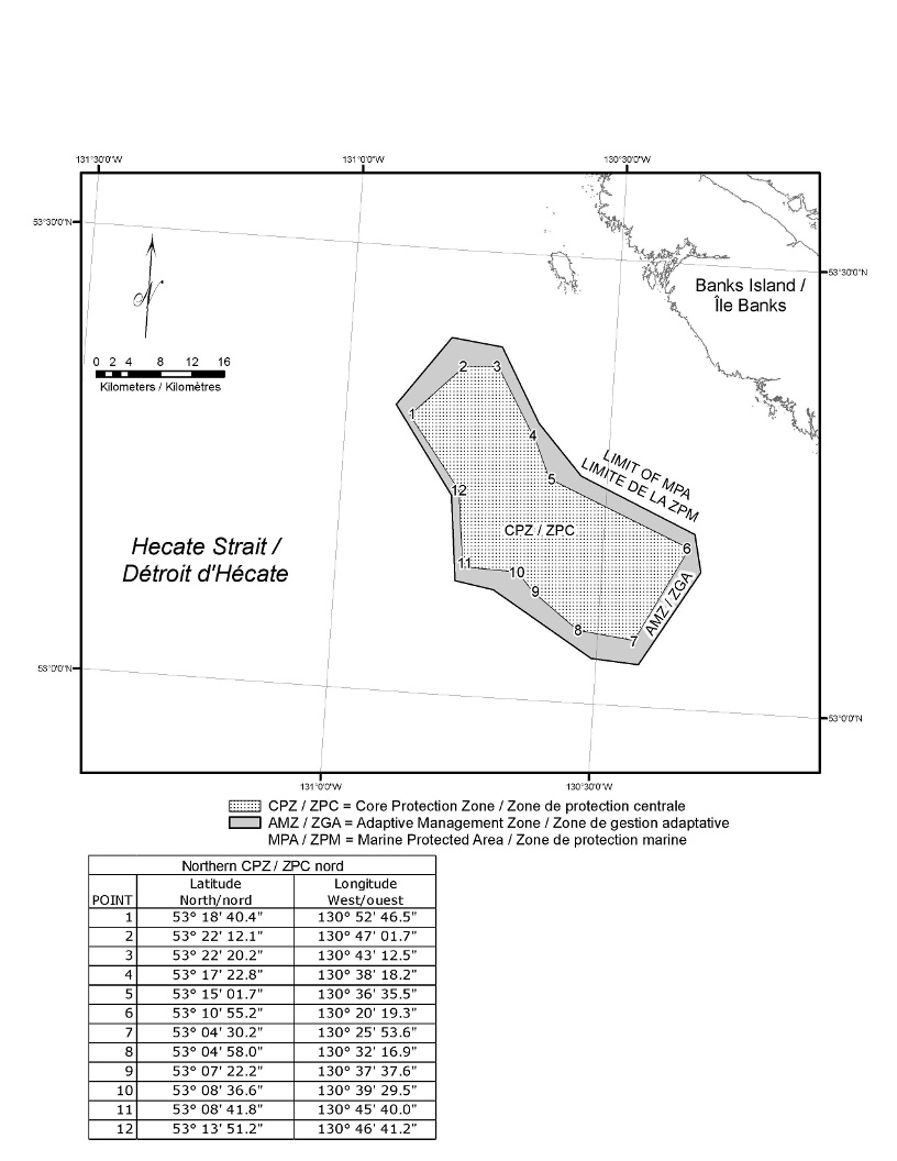 Schedule 2 is a map depicting the Northern Reef Marine Protected Area as a Core Protection Zone surrounded by an Adaptive Management Zone. The Schedule also includes a table setting out the geographic coordinates of the Core Protection Zone.
