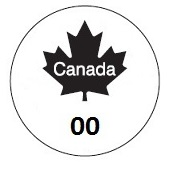 "Figure 1 is a circle, in the middle of which is a black maple leaf that has the word ""Canada"" written within it and the numbers ""00"" written below it."