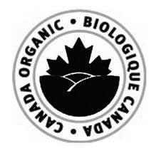 "Circular product legend with an outer and inner border. The text ""BIOLOGIQUE CANADA CANADA ORGANIC"" is written between the borders and follows their contours. Inside the circle that is created by the inner border there is a picture of the top half of a maple leaf above three hills."