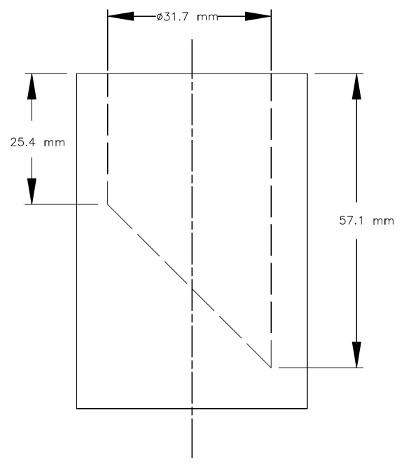 A sectional view of the small parts cylinder which is a hollow cylinder with an inner diameter of 31.7 mm. The inner base of the cylinder is diagonal at a 45° angle so that the minimum depth of the cylinder is 25.4 mm and the maximum depth of the cylinder is 57.1 mm.