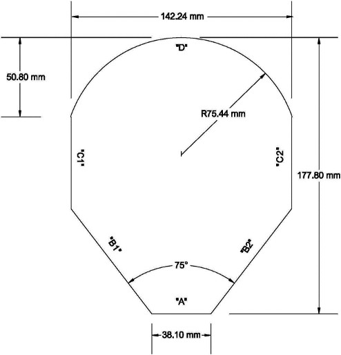The template is flat and resembles the contour of a child's head. It has a width of 142.24 mm and a height of 177.80 mm. The bottom of the template is horizontal, is 38.10 mm in length and is designated surface A. The sides are symmetrical in relation to the central axis of the bottom of the template and extend upwards and outwards in such a way that an angle of 37.5° exists between surface A and each of the sides that are designated surface B1 and surface B2, respectively. Those sides extend upwards and outwards until the template reaches its width of 142.24 mm. Two vertical sides, each of which is contiguous to one of the sides that extends outward, rise vertically such that the distance between the highest point of each vertical side and the top of the template is 50.80 mm. The vertical sides are designated surface C1 and surface C2, respectively. The top of the template is convex, has a radius of 75.44 mm and is designated surface D.