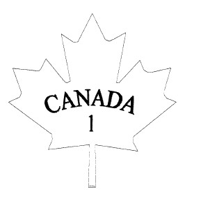 Outline of a maple leaf with the word CANADA and the number 1 inside.
