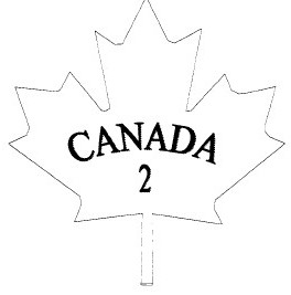 Outline of a maple leaf with the word CANADA and the number 2 inside.