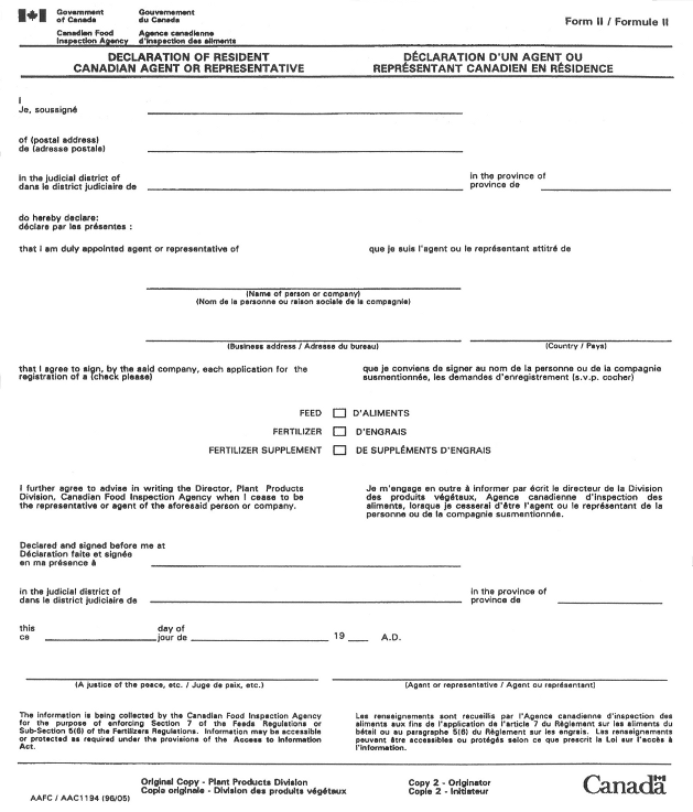 Form II – Declaration of Resident Canadian Agent or Representative form