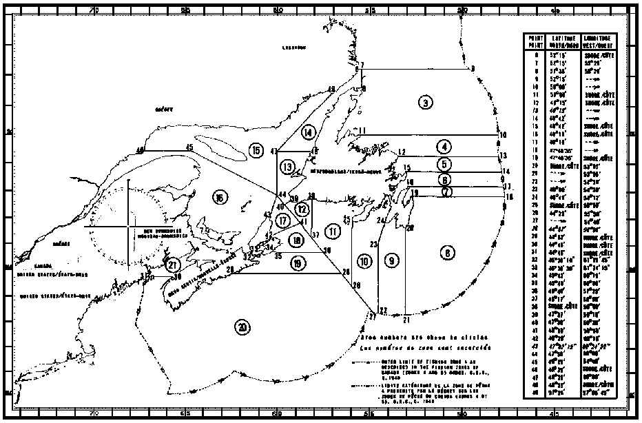 Map of Mackerel Fishing Areas with latitude and longitude coordinates for forty-nine points outlining the areas