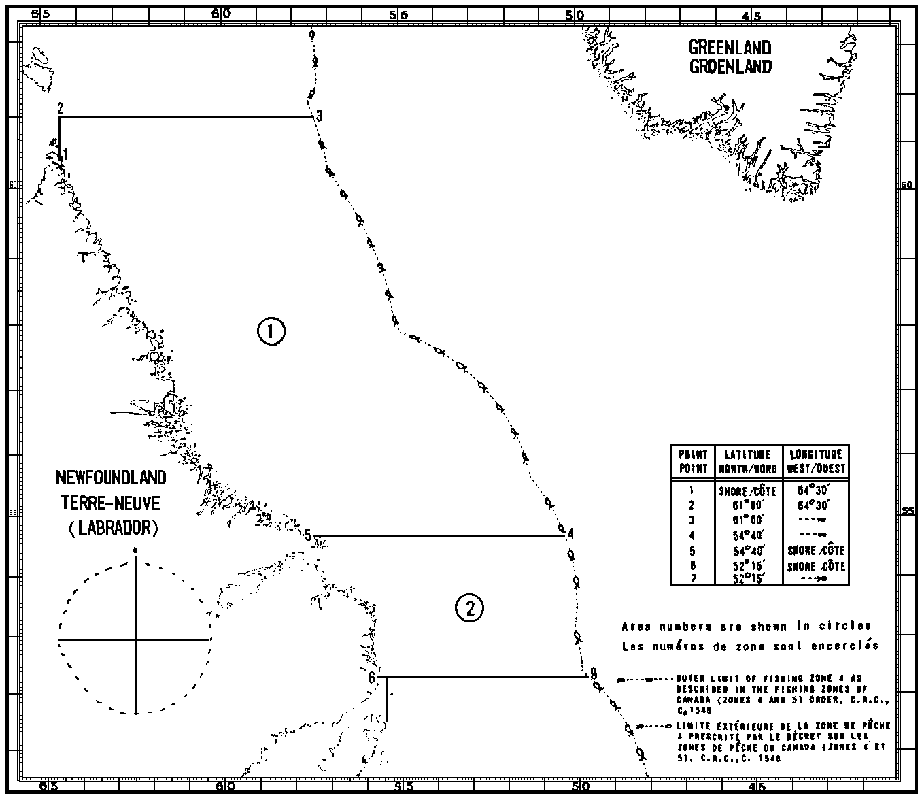 Map of Crab Fishing Areas with latitude and longitude coordinates for seven points outlining the areas