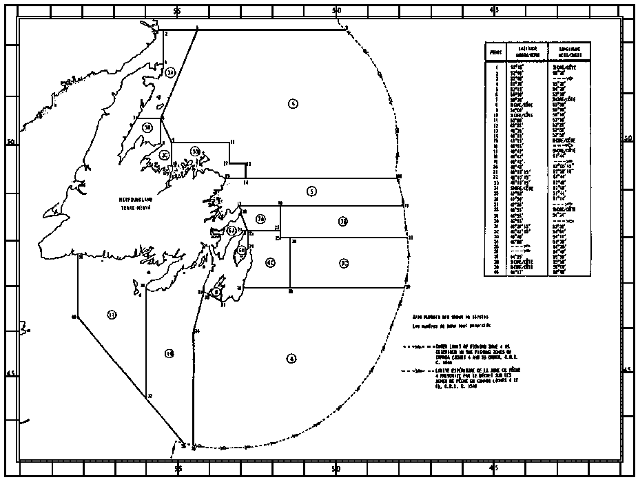 Map of Crab Fishing Areas with latitude and longitude coordinates for forty points outlining the areas