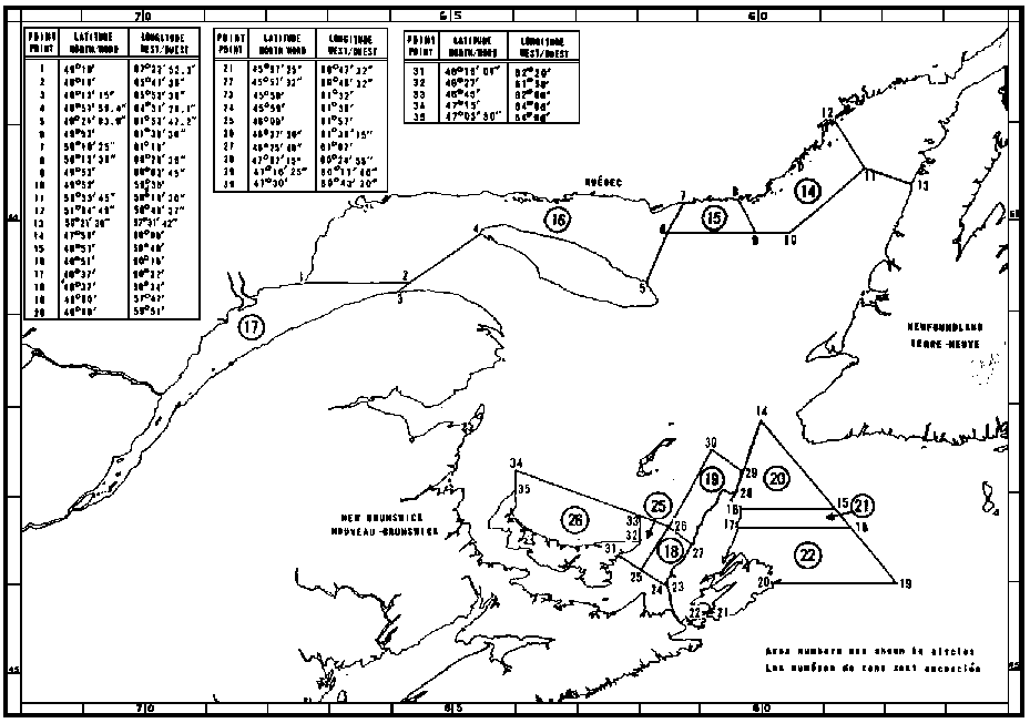 Map of Crab Fishing Areas with latitude and longitude coordinates for thirty-five points outlining the areas