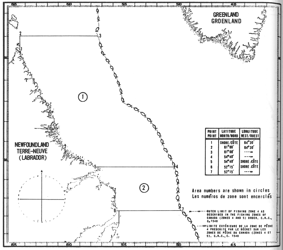 Map of Lobster Fishing Areas with latitude and longitude coordinates for seven points outlining the areas.