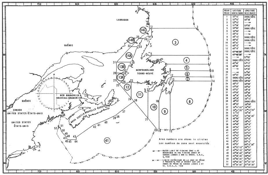 Map of Lobster Fishing Areas with latitude and longitude coordinates for fifty-two points outlining the areas.