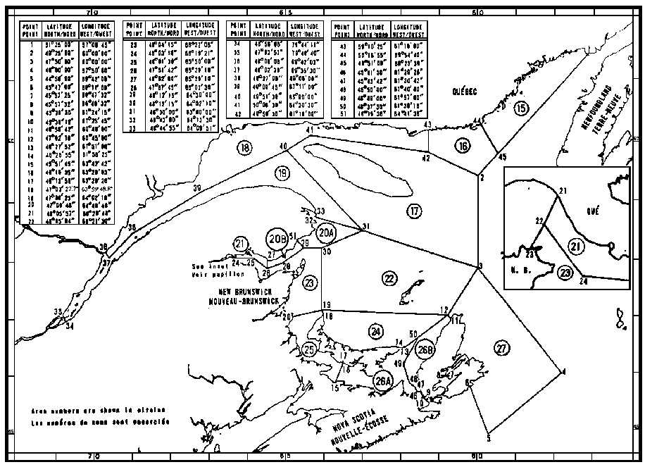 Map of Lobster Fishing Areas with latitude and longitude coordinates for fifty-one points outlining the areas.