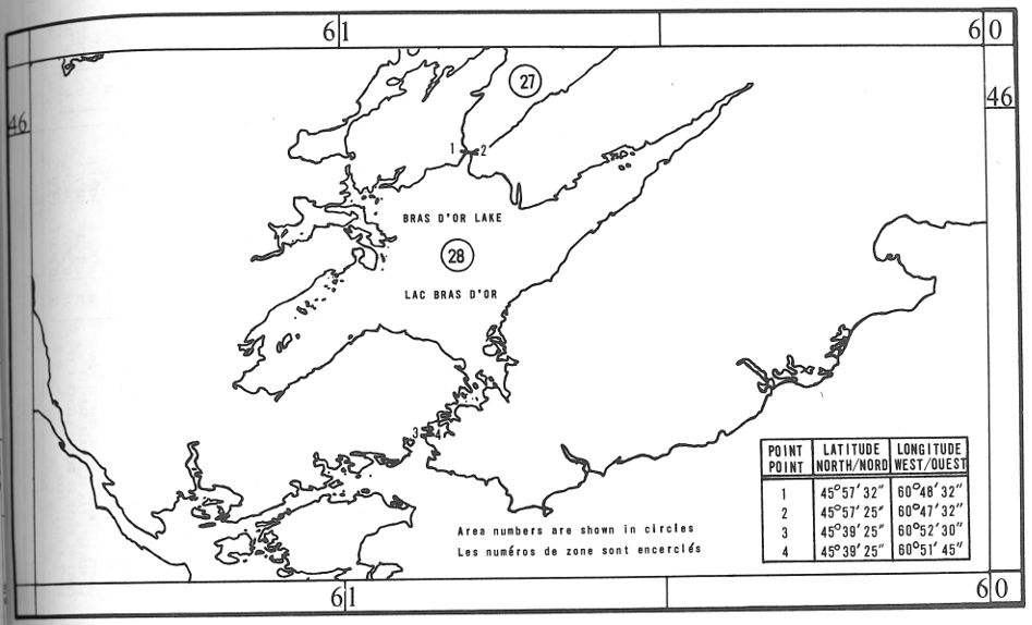 Map of Lobster Fishing Areas with latitude and longitude coordinates for four points outlining the areas.