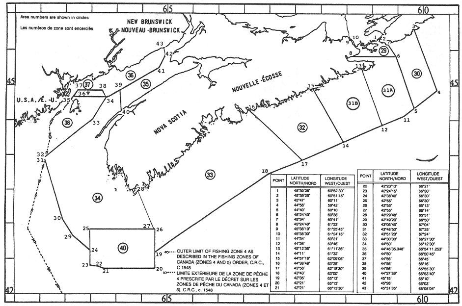 Map of Lobster Fishing Areas with latitude and longitude coordinates for forty-three points outlining the areas.