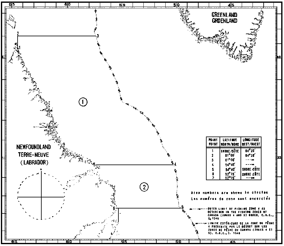Map of Scallop Fishing Areas with latitude and longitude coordinates for seven points outlining the areas