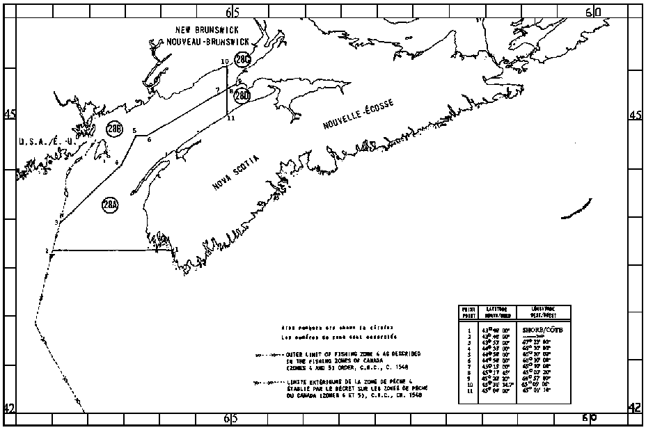 Map of Scallop Fishing Areas with latitude and longitude coordinates for eleven points outlining the areas