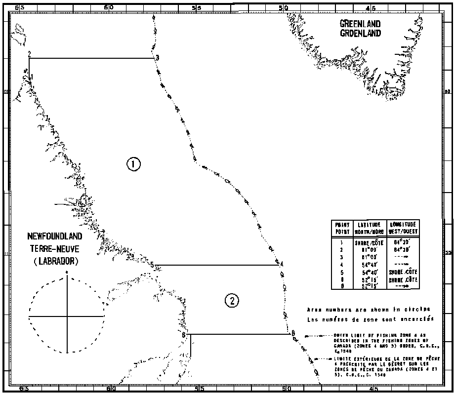 Map of Squid Fishing Areas with latitude and longitude coordinates for seven points outlining the areas