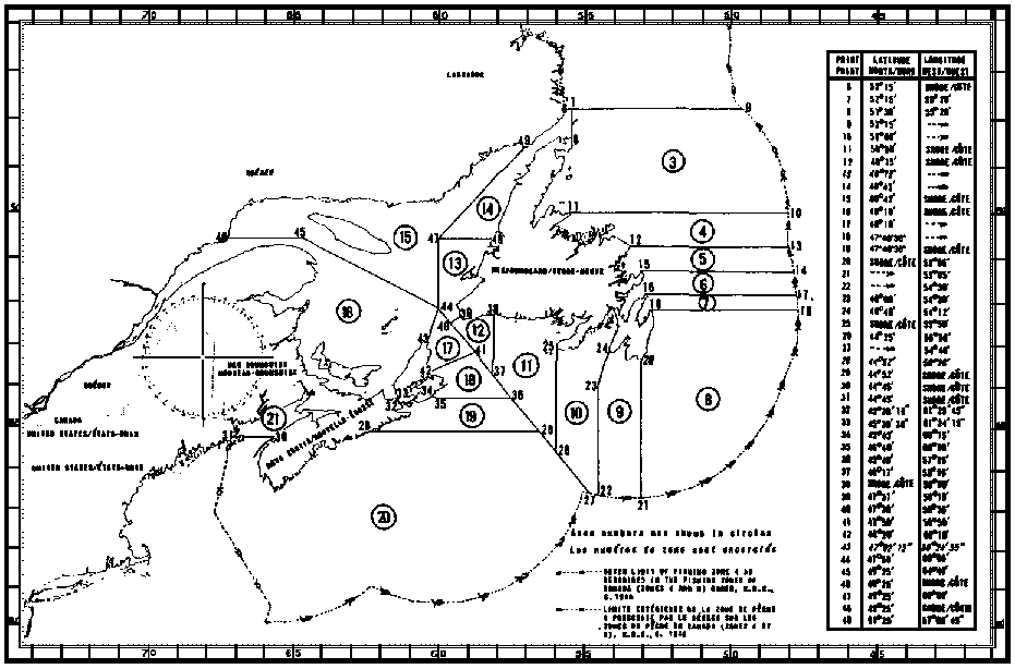 Map of Squid Fishing Areas with latitude and longitude coordinates for forty-nine points outlining the areas