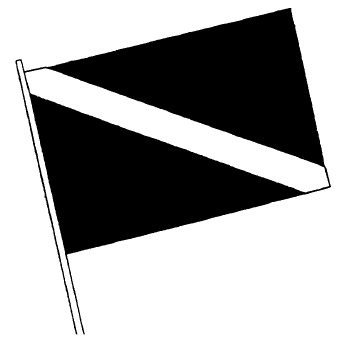 Image of diver's flag showing a rectangular flag that has a white diagonal stripe extending from the tip of the hoist to the bottom of the flag.