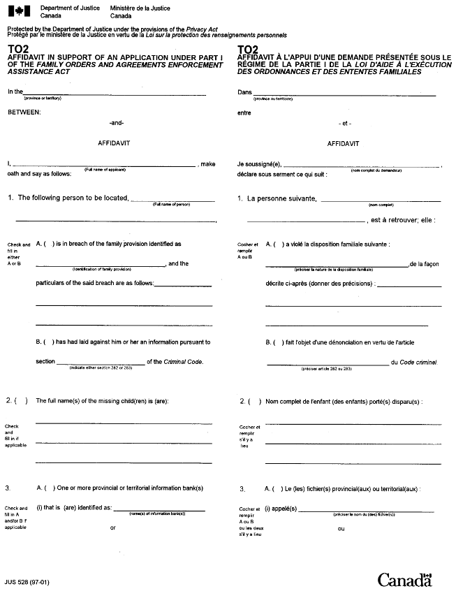 T02 Affidavit in Support of an Application under Part I of the Family Orders and Agreements Enforcement Assistance Act form