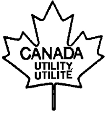 Outline of a maple leaf with the following text inside CANADA UTILITY UTILITÉ