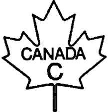 Outline of a maple leaf with the following text inside CANADA C
