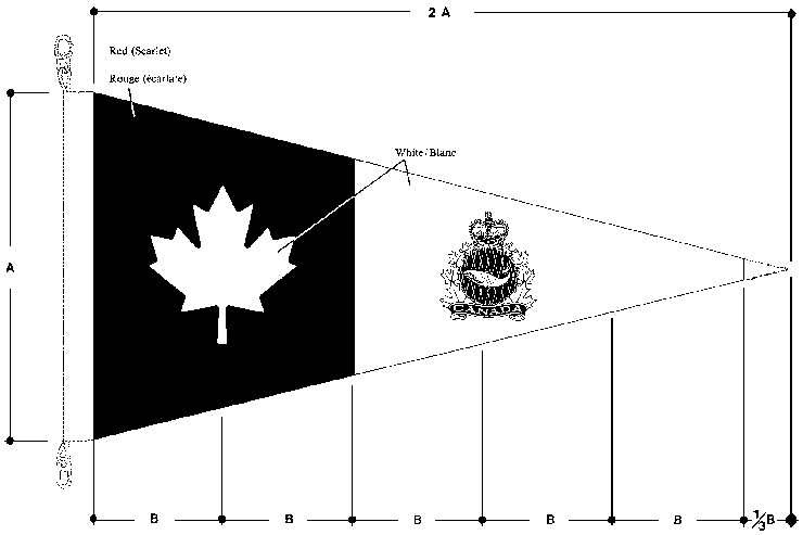 Fisheries Patrol-Boat pennant, with specifications, in the shape of a triangle that is sideways with the end pointing towards the right. The pennant has a white maple leaf on a black background on the left side, and on the right side on a white background, a crown above a fish in a circle surrounded by maple leaves with the word Canada below.