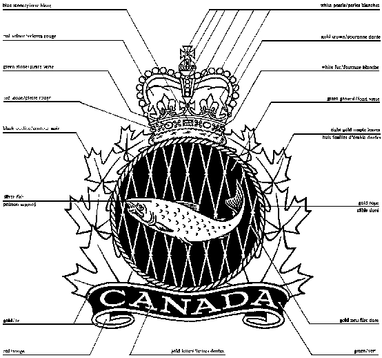 Crown above a fish in a circle surrounded by maple leaves with the word Canada below with colour specifications listed.