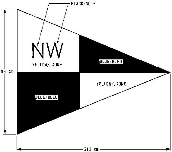 Inspection pennant, with specifications, in the shape of a triangle that is sideways with the end pointing towards the right. The pennant is divided into four parts with the letters NW in the top left part.