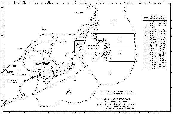 Map of Sealing Areas with latitude and longitude coordinates for twenty-five points outlining the areas.