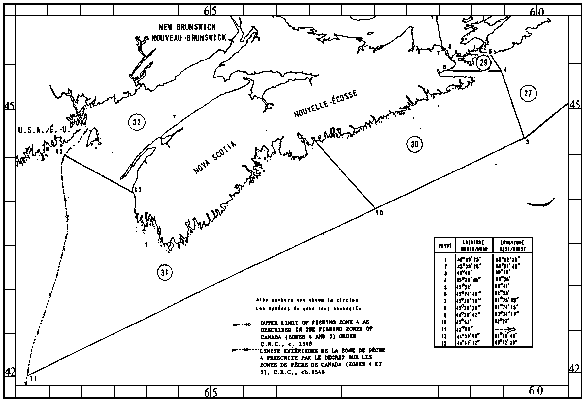 Map of Sealing Areas with latitude and longitude coordinates for thirteen points outlining the areas.