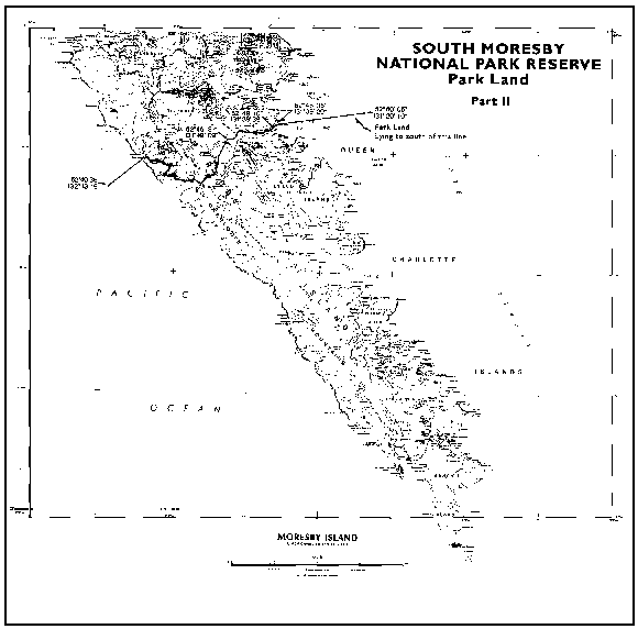 Map of the boundaries of South Moresby National Park Reserve (now known as Gwaii Haanas National Park Reserve of Canada)