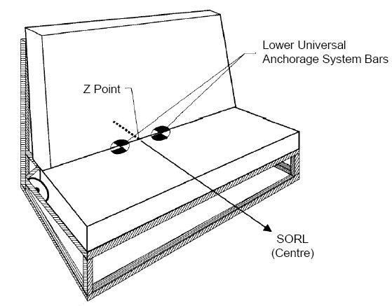 Diagram of Three-dimensional Schematic View of the Standard Seat Assembly Indicating Location of the Lower Universal Anchorage System with specifications.