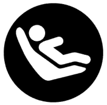 Lower Universal Anchorage System Symbol consisting of a black circle with a drawing of a person reclining in a seat in the middle.