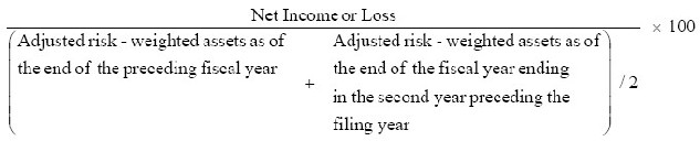 Multiply by 100 the result of the following: Net Income or Loss divided by the result of dividing by 2 the sum of Adjusted risk-weighted assets as of the end of the preceding fiscal year plus Adjusted risk-weighted assets as the end of the fiscal year ending in the second year preceding the filing year.